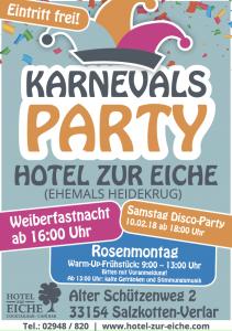 Karnevalsparty-Hotel zur Eiche in Salzkotten